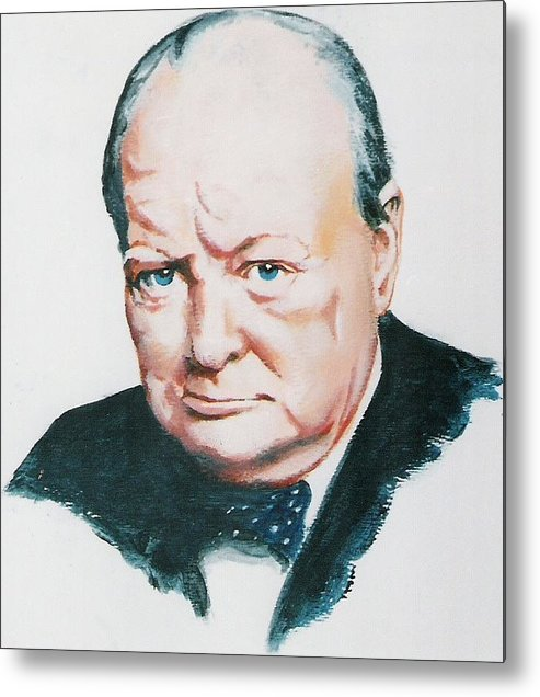 Churchill. Primeminister Metal Print featuring the painting Sir Winston Churchill by Barry Smith