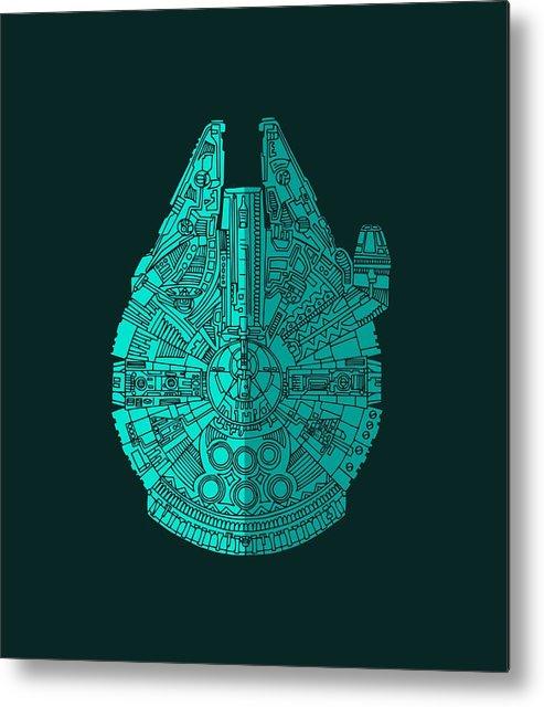 Millennium Metal Print featuring the mixed media Star Wars Art - Millennium Falcon - Blue 02 by Studio Grafiikka
