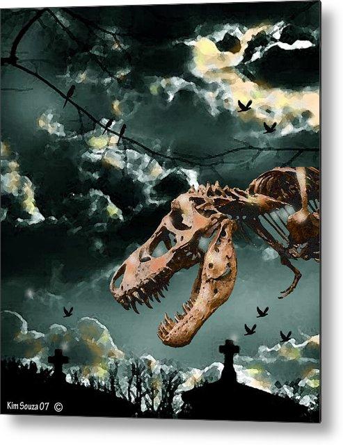 Dinosaurs Metal Print featuring the digital art T-rex Graveyard by Kim Souza