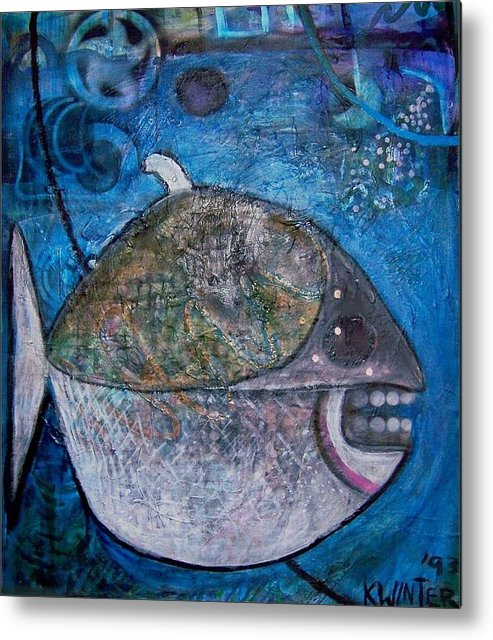 Fish Sea Marine Dentist Floss Metal Print featuring the mixed media Teeth by Dave Kwinter