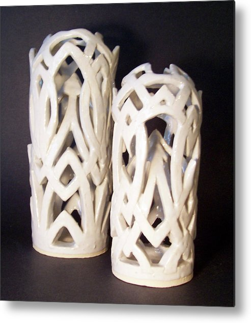 Clay Metal Print featuring the sculpture White Interlaced Sculptures by Carolyn Coffey Wallace