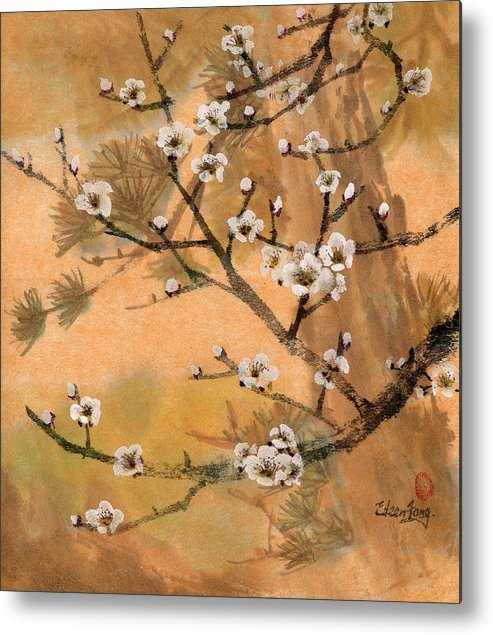 White Plum Blossoms Metal Print featuring the painting White Plum Blossoms With Pine Tree by Eileen Fong