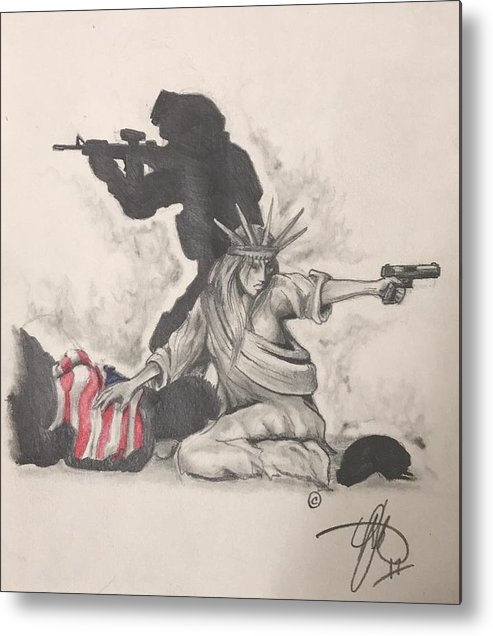Liberty Metal Print featuring the drawing Fighting For Liberty by Howard King