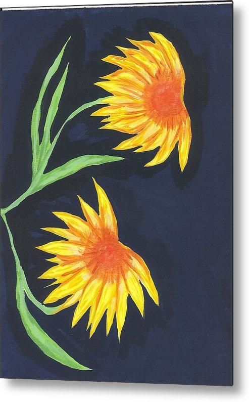 Flower Metal Print featuring the painting Here Comes The Sun by Laura Lillo