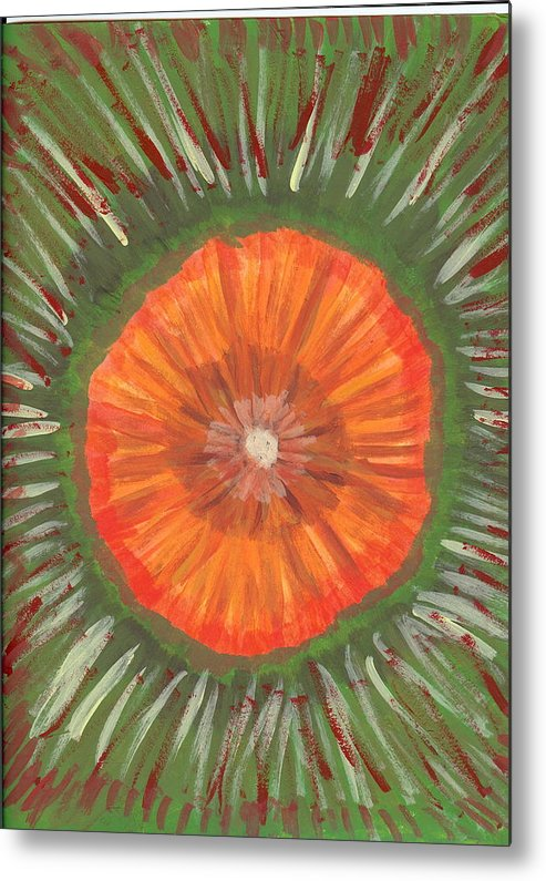 Flower Metal Print featuring the painting In The Middle Of It All by Laura Lillo