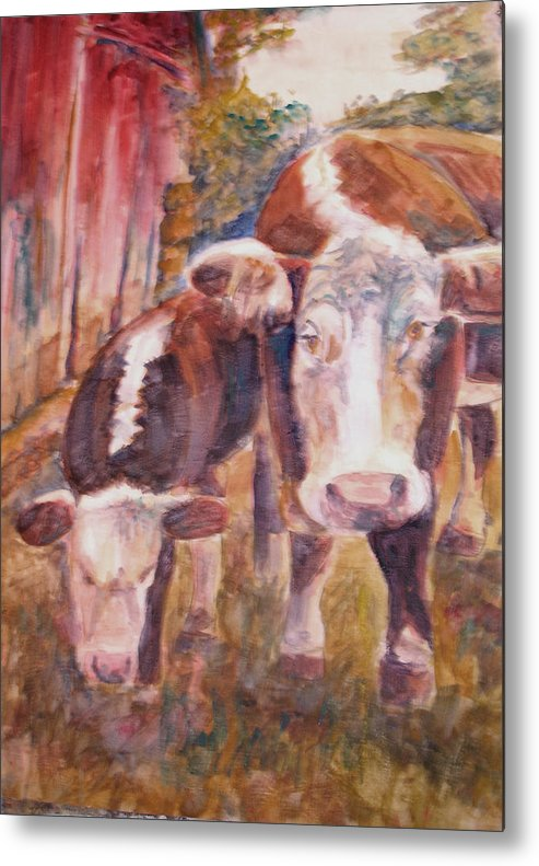 Cows Metal Print featuring the painting Mother And Child by Joyce Kanyuk