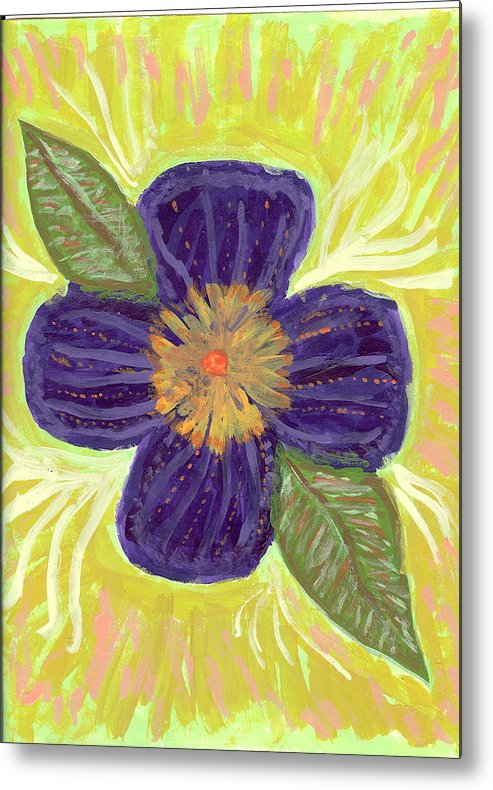 Flower Metal Print featuring the painting Pea In Pod by Laura Lillo