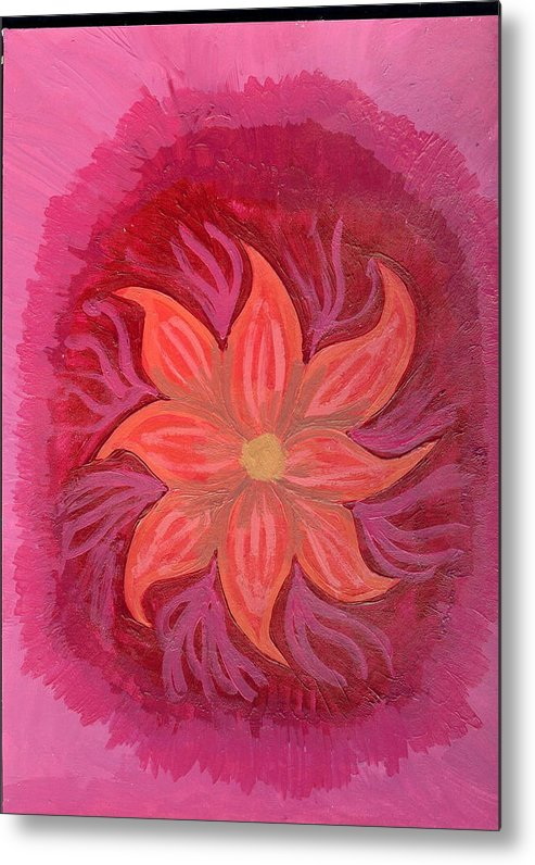 Flower Metal Print featuring the painting Pink Fusion by Laura Lillo