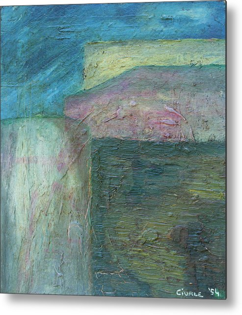 Metal Print featuring the painting Landscape With Houses by Biagio Civale