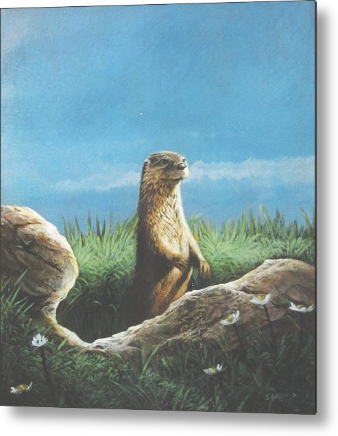 Wildlife Metal Print featuring the painting River Otter by Steve Greco