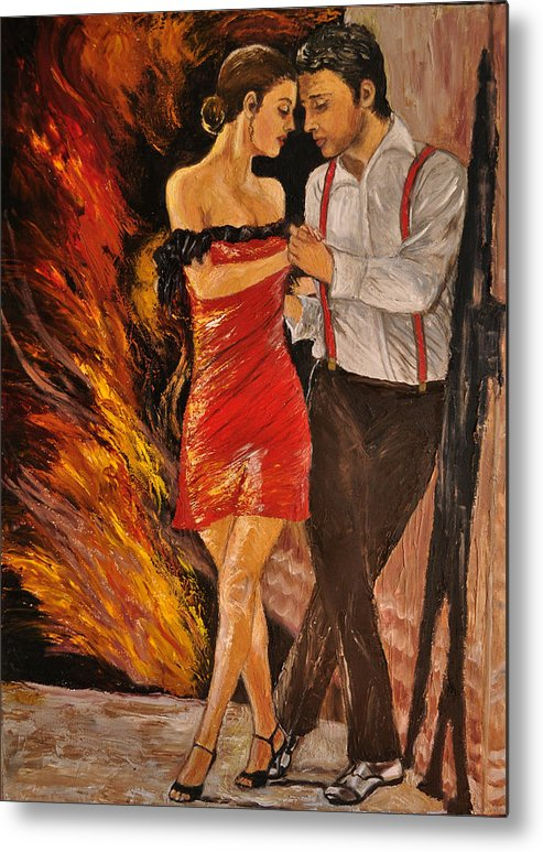 Oil Painting Metal Print featuring the painting Dancing The Tango by Terry Sita