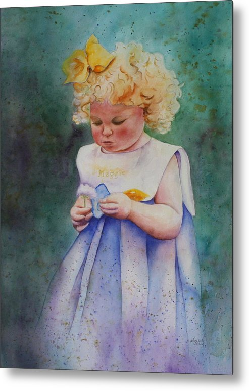 Child Metal Print featuring the painting Maggie's Dandelion by Patsy Sharpe
