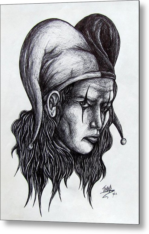 The Jester Metal Print featuring the drawing The Jester by Michael TMAD Finney