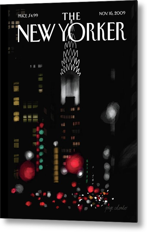 New York Metal Print featuring the painting Night Lights by Jorge Colombo