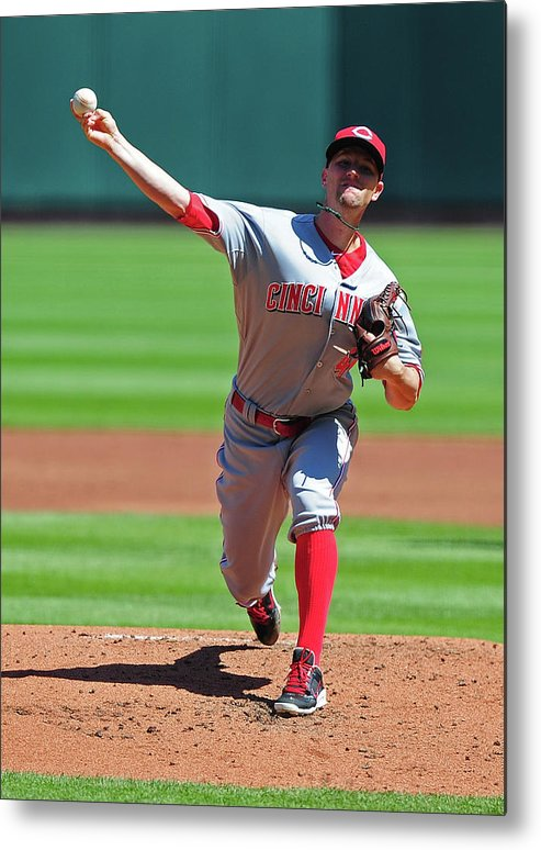 Mike Leake Metal Print featuring the photograph Cincinnati Reds V St. Louis Cardinals 3 by Jeff Curry