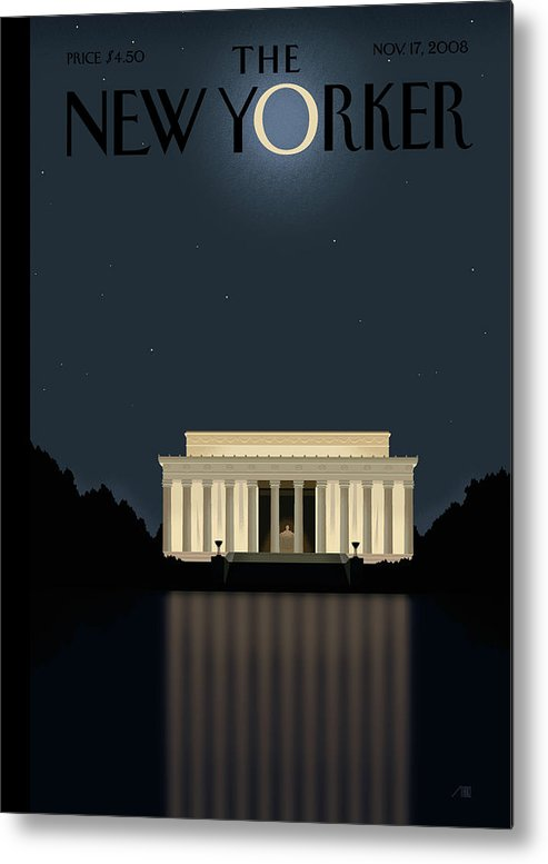 Lincoln Metal Print featuring the painting New Yorker November 17th, 2008 by Bob Staake