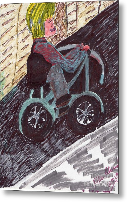 Lady On A Bike Metal Print featuring the mixed media A Casual Ride by Elinor Helen Rakowski