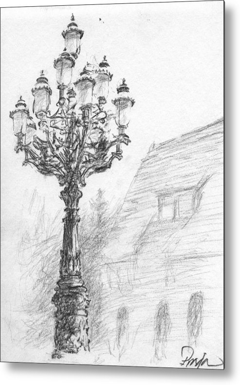Charcoal Metal Print featuring the drawing Antique Lampost by Horacio Prada