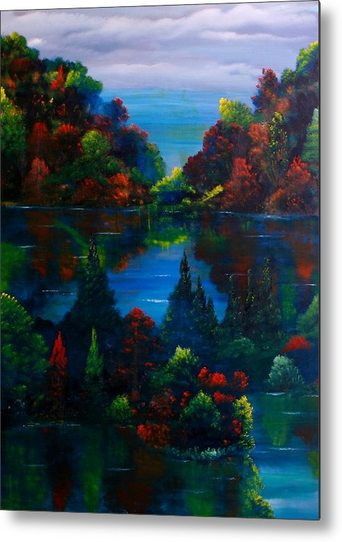 Landscape Metal Print featuring the painting Autumn Fantasy by David Snider