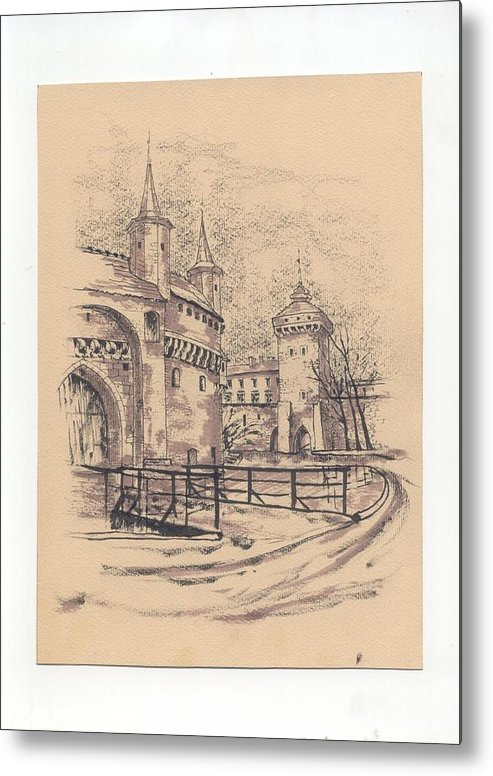 Monument Metal Print featuring the drawing Barbakan Cracow by Monika Golebiowska