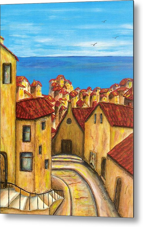 Pamela Allegretto Metal Print featuring the painting Biagi In Tuscany by Pamela Allegretto
