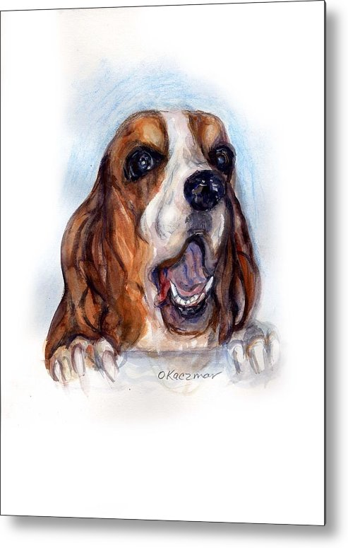 Basset Hound Metal Print featuring the painting Buford by Olga Kaczmar