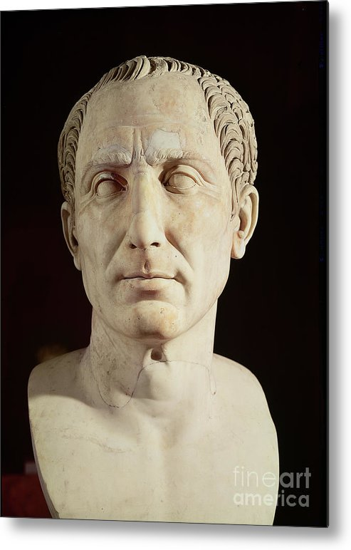Portrait Metal Print featuring the sculpture Bust Of Julius Caesar by Anonymous