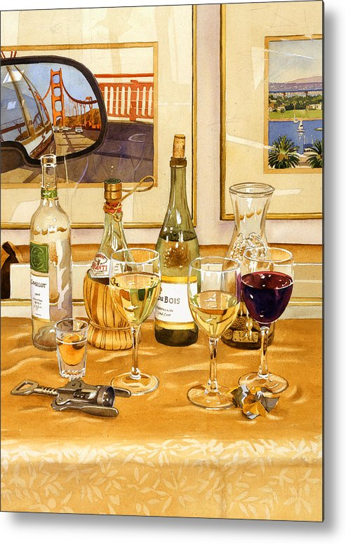 California Metal Print featuring the painting California Wine And Watercolors by Mary Helmreich