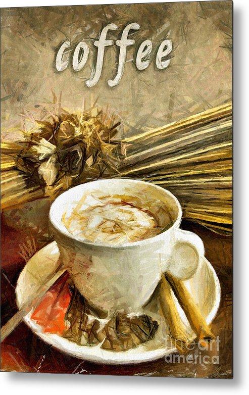 Coffee Metal Print featuring the pastel Coffee - Drawing by Daliana Pacuraru