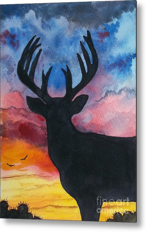Deer Silhouette Metal Print featuring the painting Deer Silhouette by Don Hand