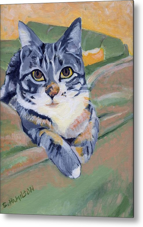 Cat Paintings Metal Print featuring the painting Ellie by Sarah Hamilton