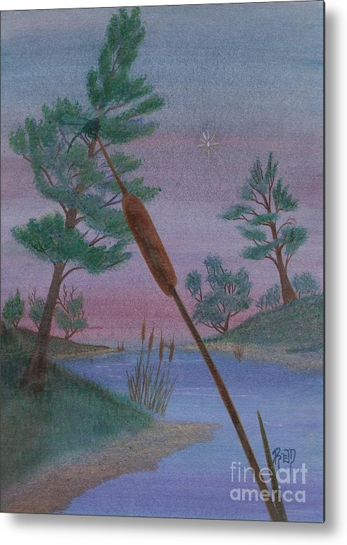 Watercolor Metal Print featuring the painting Evening Wish by Robert Meszaros