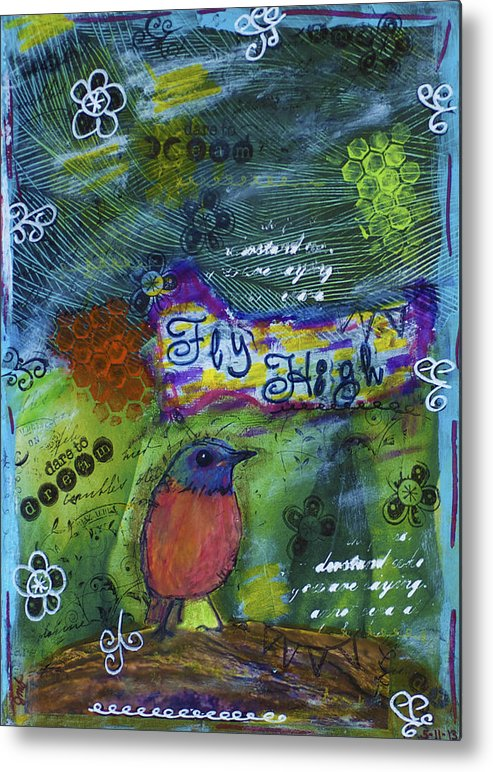 Bird Metal Print featuring the mixed media Fly High Little Bird by Jessica Marin-feliciano