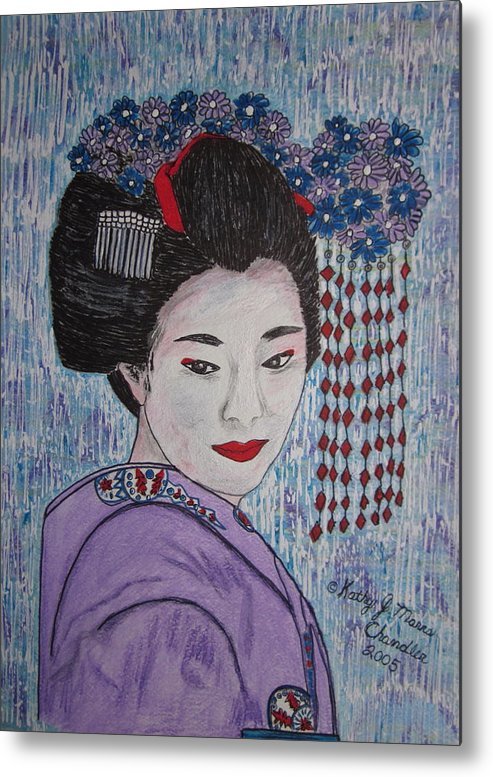 Oriental Metal Print featuring the painting Geisha Girl by Kathy Marrs Chandler