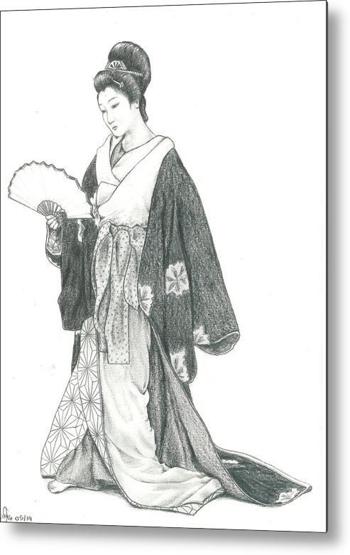 Geisha Metal Print featuring the drawing Geisha Vi by Nathalie Ando