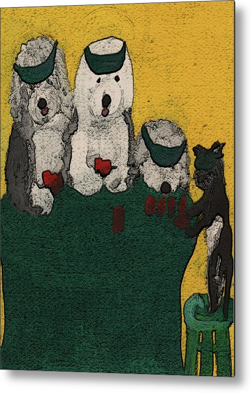 Old English Sheepdog Metal Print featuring the mixed media Go Fish Said The Cat by Cathy Howard