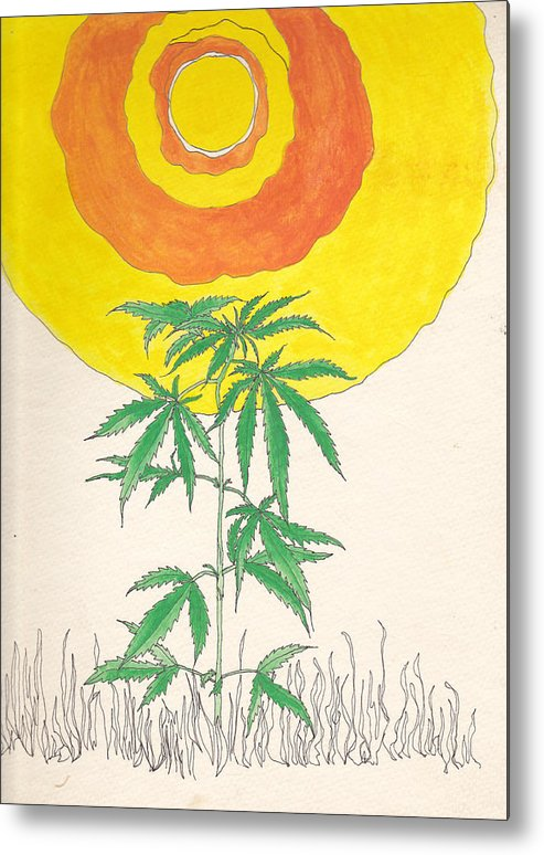 Marijuana Metal Print featuring the drawing Happy Days by Sarah Hamilton
