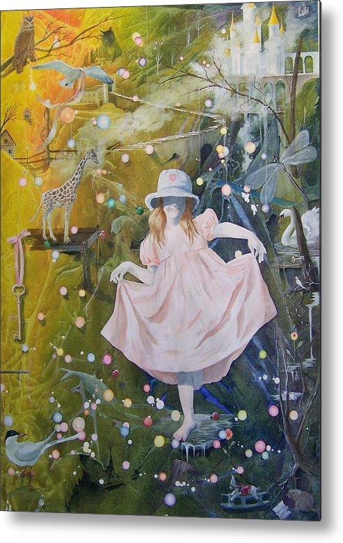 Girl Metal Print featuring the painting I Met A Giraffe by Jackie Mueller-Jones