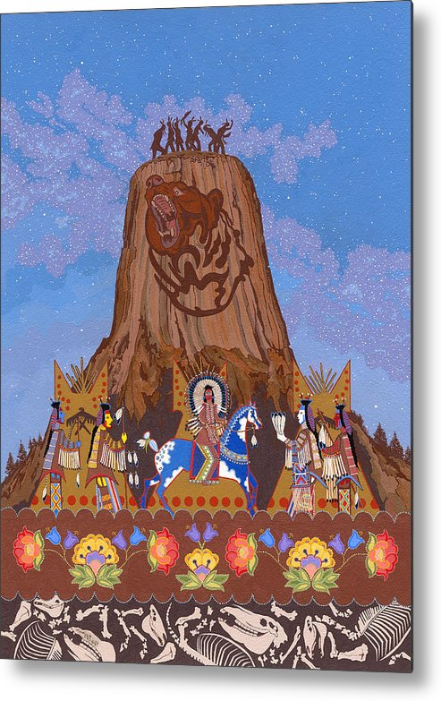 America Metal Print featuring the painting Legend Of Bear's Tipi by Chholing Taha