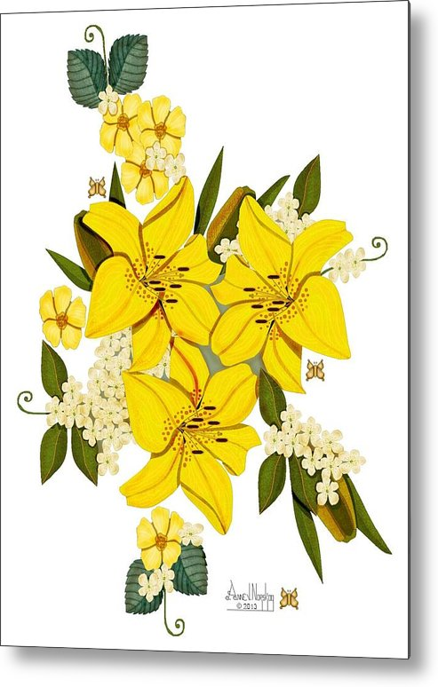 Anne Norskog Art Metal Print featuring the painting Lily Triplets by Anne Norskog