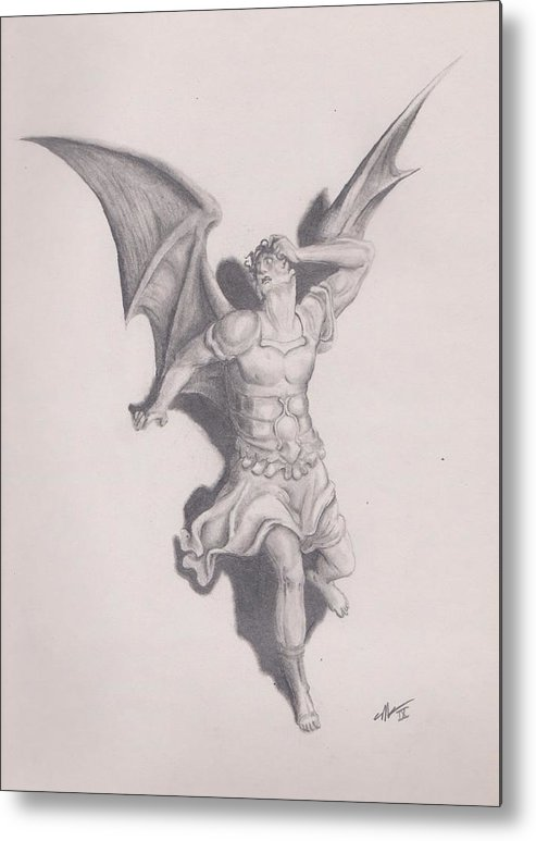 Lucifer Satan Drawing Paradise Lost Metal Print featuring the drawing Lucifer by Crosson Nipper