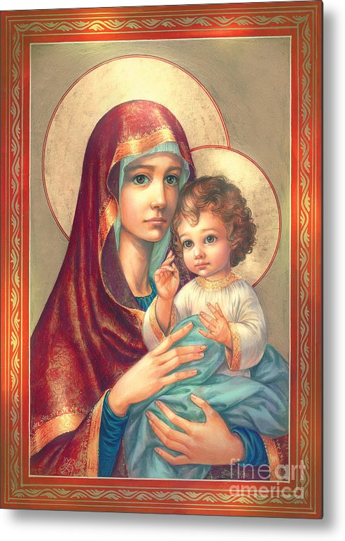 Mother Of God Metal Print featuring the digital art Madonna And Sitting Baby Jesus by Zorina Baldescu