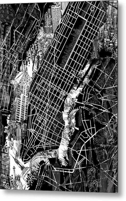 Manhattan Map Black And White Metal Print by Bekim Art
