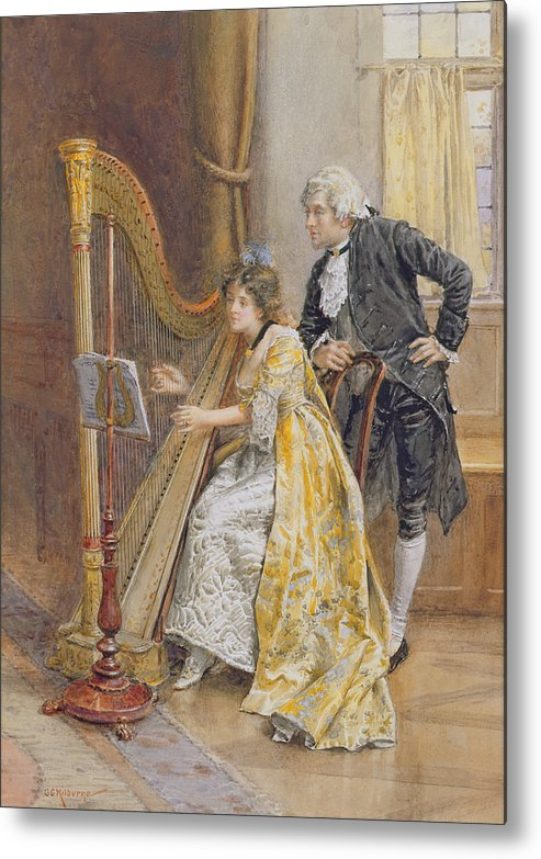 Memory; Playing; Instrument; Harp; Interior; Practice; Music Stand; Listening; Score Metal Print featuring the painting Memorys Melody by George Goodwin Kilburne