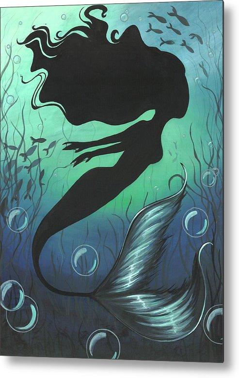 Mermaid Metal Print featuring the painting Mermaid Of The Deep Sea by Elaina Wagner