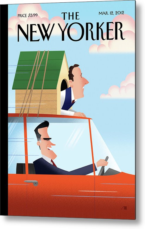 Election Metal Print featuring the painting Mitt Romney Driving With Rick Santorum In A Dog by Bob Staake