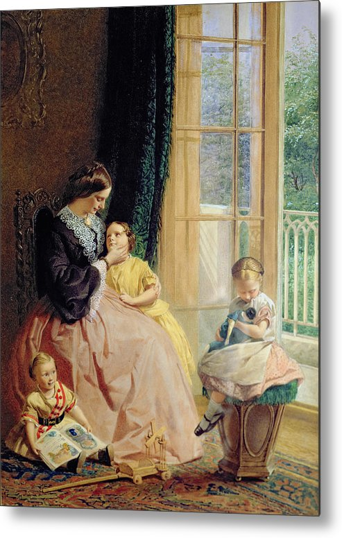 Family Group Metal Print featuring the painting Mrs Hicks Mary Rosa And Elgar by George Elgar Hicks