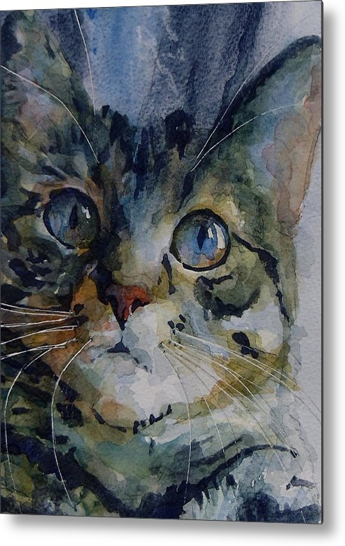 Tabby Metal Print featuring the painting Mystery Tabby by Paul Lovering