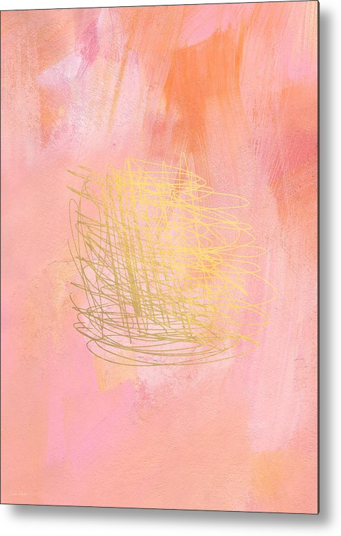 Pink Metal Print featuring the painting Nest- Pink And Gold Abstract Art by Linda Woods