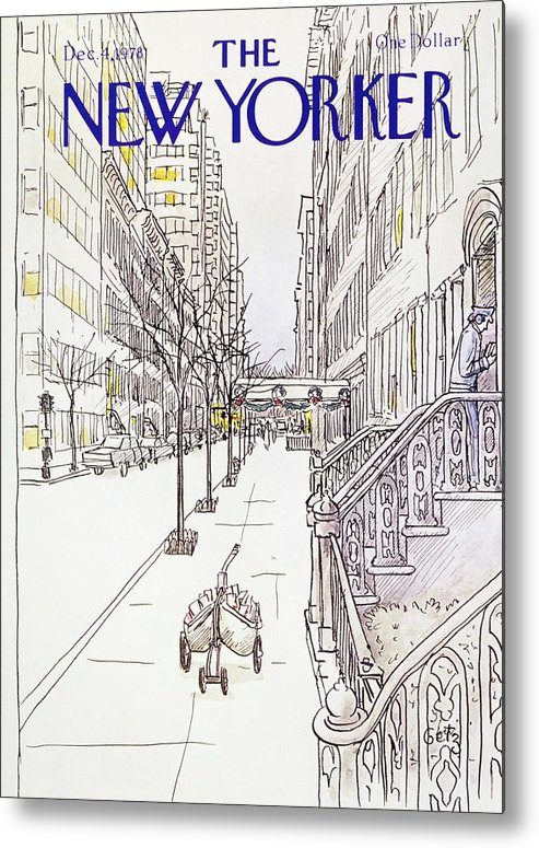 Illustration Metal Print featuring the painting New Yorker December 4th 1978 by Arthur Getz